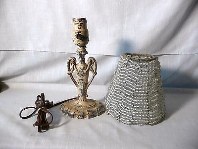 Antique Ornate Victorian Cast Metal  Boudoir Lamp With Beaded Glass Shade