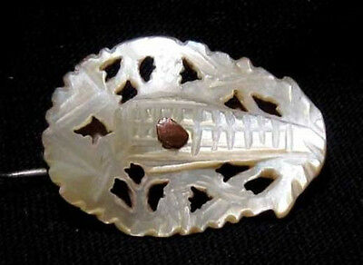OUTSTANDING VINTAGE MOTHER of PEARL SMALL BROOCH from HOLY LAND!!!