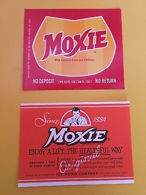 Moxie Soda Bottle Label - New Old Stock - Two Different Designs - Pop - Cola -