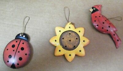 Reversible punched metal LADY BUG, cardinal, sunflower ornament wall decor Sign