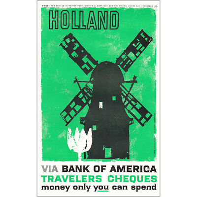 1959 Bank Of America Holland Vintage Print Ad