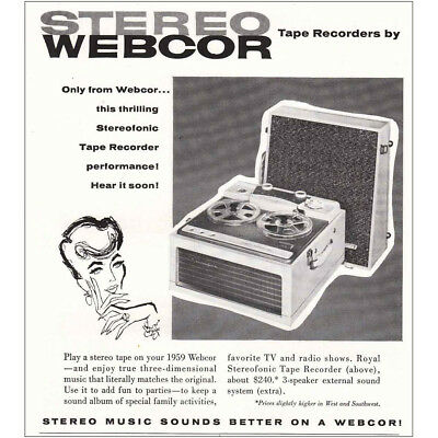 1958 Webcor Stereo Tape Recorder: Truest Stereophonic Music Vintage Print Ad