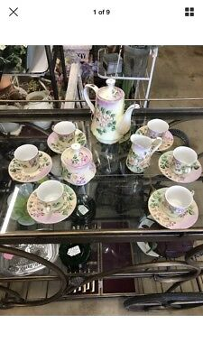 17 Pieces Limoges Hand-Painted Coffee Tea Set for 6 Rose Buds Gold Trim