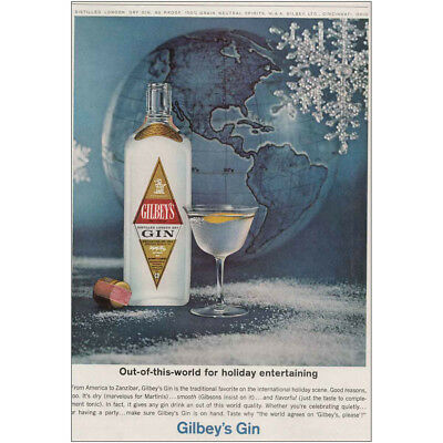 1963 Gilbey's Gin: Out of This World for Holiday Entertaining Vintage Print Ad