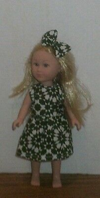 "6/6.5"" Doll Clothes-fit Mini American Girl My Life-Dress & Bow-Green Burst"
