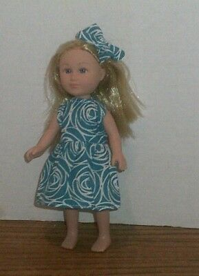 "6/6.5"" Doll Clothes-fit Mini American Girl My Life-Dress & Bow-Blue Rosette"