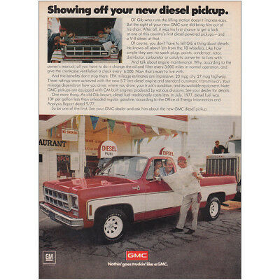 1978 GMC: Showing Off Your New Diesel Pickup Vintage Print Ad