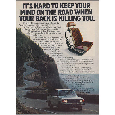 1973 Volvo: Your Back Is Killing You Vintage Print Ad