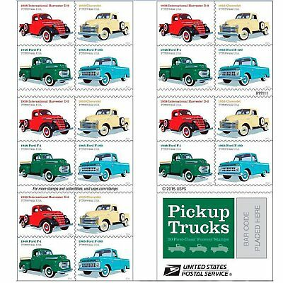One Book Of 20 Pickup Trucks Usps First Class Forever Postage Stamps