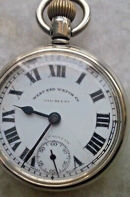 West End Watch Co. Antimagnetic Winding Pocket Watch Porcelain Dial Vintage