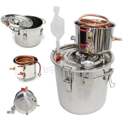 AU 10-30L Alcohol Distiller Moonshine Copper Stainless Home Still Brewing