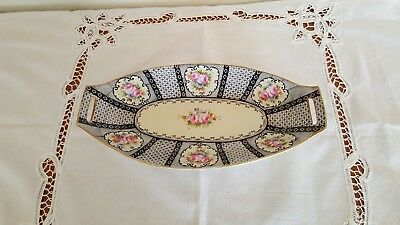 """Antique 1912 Japanese Nippon 12"""" Long Hand-Painted Celery Dish - Rose Designs"""