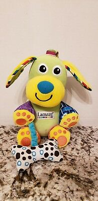"Lamaze~Puppy Dog Green Activity Rattle Crinkle 7"" Plush Stuffed Animal Lovey Toy"