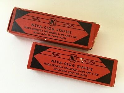 2 Vtg Boxes of Staples for NEVA-CLOG Stapling Pliers A-1000 Model A-100 & S-100