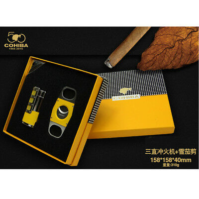 Cohiba Yellow Metal Cigar Lighter With Punch Cutter Set 3 Torch Jet Flame