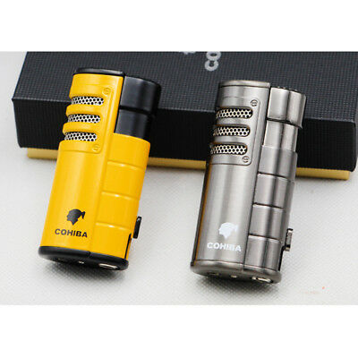 Cohiba 3 Torch Jet Flame Metal Yellow Cigar Cigarette Lighter With Punch