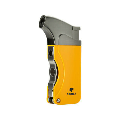 COHIBA Yellow Metal 1 Torch Jet Flame Cigar Cigarette Lighter 2 Punch