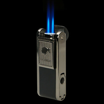 Cohiba Metal Black Cigarette Cigar Lighter With Lateral Punch 2 Torch Jet Flame