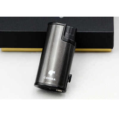 Cohiba Gray Cigar Cigarette Metal Lighter 3 Torch Jet Flame W/Punch