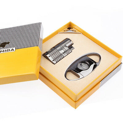 Cohiba Black Chrome Cigar Cigarette Lighter W/Punch Cutter Set 4 Torch Jet Flame