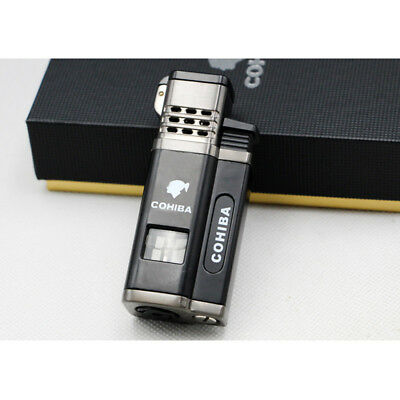 Cohiba Black Metal 4 Torch Jet Flame Cigar Cigarette Lighter W/Punch