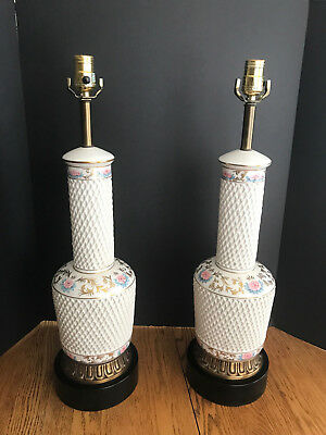 A Pair of Vintage Ceramic Table Lamp, Basket Weave Design, Painted Pink Floral