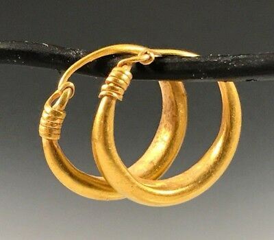 ANCIENT ROMAN-BYZANTINE GOLD HOOP EARRINGS! Very Nice Pair!