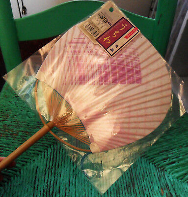 Japanese FAN w/ Kyoto-Style Motif, in Paper & Wood, Fringes, White, Lilac, Pink