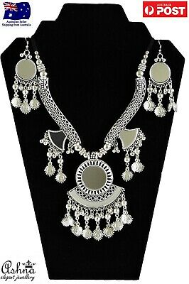 Indian Bohemian Ethnic Navratri Jewellery Set Oxidised Necklace With Earrings