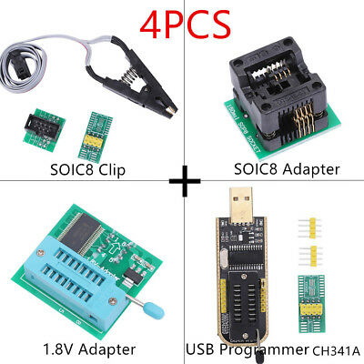 1.8V Adapter LCD Flash USB Programmer EEPROM BIOS Writer CH341A SOIC8 Clip