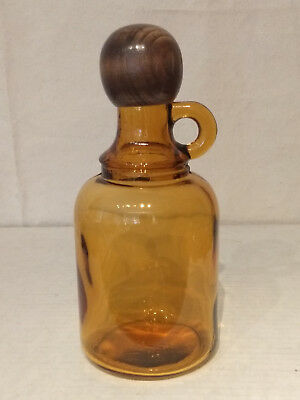 MCM Mid Century AMBER Art Glass JUG Decanter Bottle WOODEN Screw Top Stopper