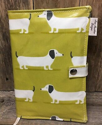 A5 Diary Cover,Nurses Diary Cover,Week To View Cover,Lime dachshund A5 cover