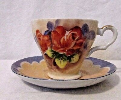 Vintage Lusterware Rose Tea Cup And Saucer Bone China Hand Painted Floral Japan