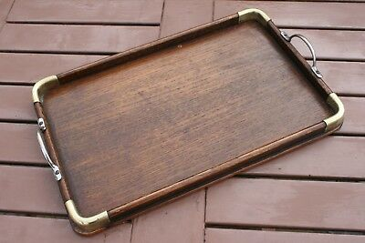 Small Edwardian Oak Serving Tray With Brass Corners
