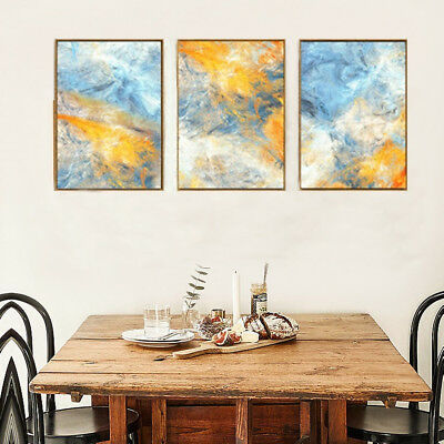 Watercolor Prints - Modern Abstract Blue Yellow 3 Piece Canvas Wall Art Unframed
