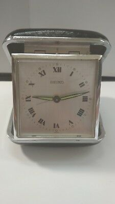 1970's Original SEIKO Tavel Alarm Hand Wind-up Mechanical Clock Luminous Dial