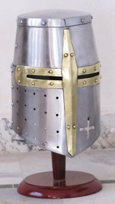 Medieval Templar Crusader Knight Armor Helmet With Wooden Stand Greek Spartan