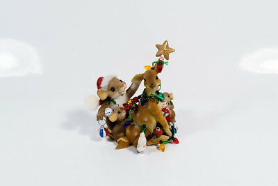 Charming Tails Friends Decorate Our Lives Christmas Mouse Deer Enesco 87/182 *
