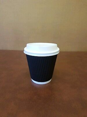 100 x 10oz Black Kraft Ripple Insulated Paper Cups With White Sip Through lids