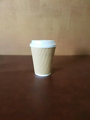 500 x 12oz Brown Kraft Ripple Insulated Paper Cups With White Sip Through lids