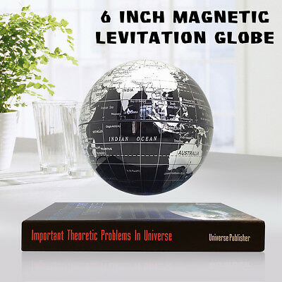 6'' Rotating Magnetic Levitating Floating Earth Globe World Map Book Base