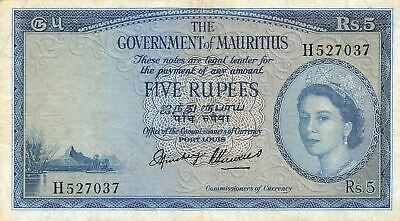 Mauritius  5  Rupees  ND.1954  P 27  Series  H  Rare  Circulated Banknote AN12