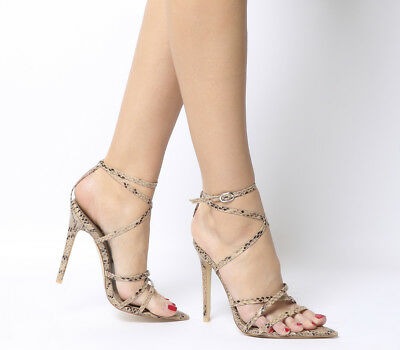 Womens Ego Kaia Strappy Heels Nude Snake Heels