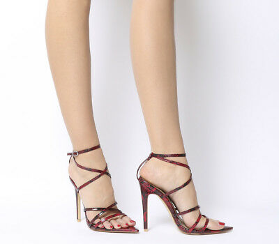 Womens Ego Kaia Strappy Heels Red Snake Heels
