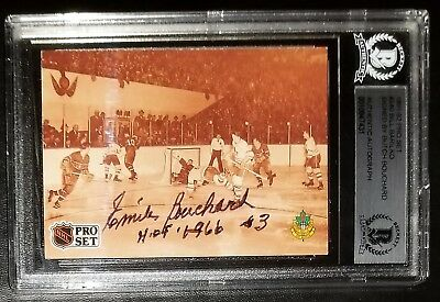 Butch Bouchard Signed 1991-92 Pro Set Card #340 Beckett BAS Canadiens Autograph