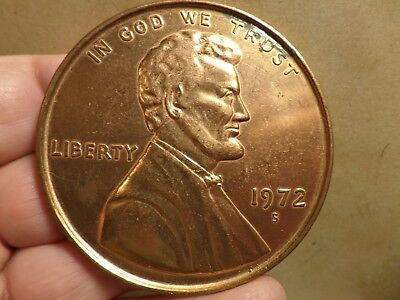 Large Novelty Coin 1972 Lincoln Penny Coin 3 Inch