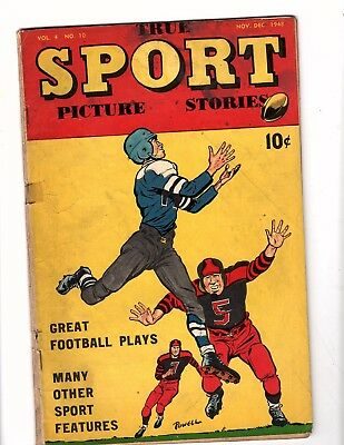 True Sport Picture Stories  V4 #10  Street & Smith  1948 Vg  Rare Bob Powell Art
