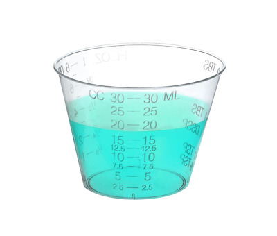 Disposable Graduated Plastic Medicine Cups - 2 Sleeves of 100 - Measuring Cups