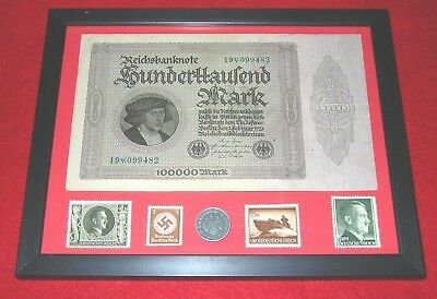 WW2 German Rare10 Rp Coin & Stamps 100,000 banknote in frame