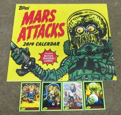 Topps 2014 Mars Attacks Calendar  With 4 Exclusive Rare Trading Cards